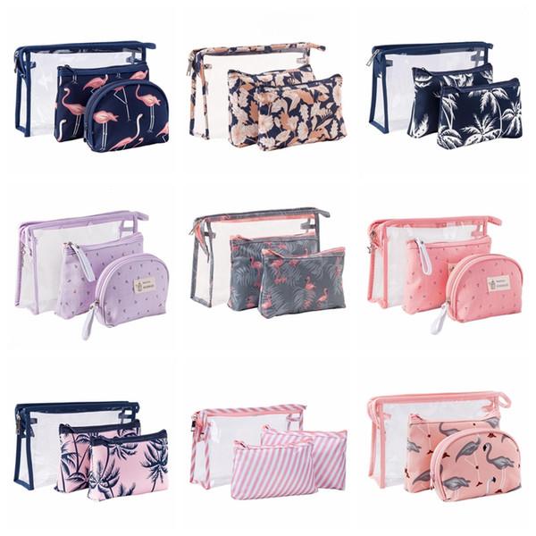 Women Cosmetic Bag Transparent Flamingo Makeup Pouch Girl Brush Pencil Case Toiletry Organizer Travel Accessories PVC 3Pcs/Set 18 Styles