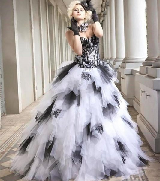 New Sale Black and White Gothic Wedding Dresses 2019 Ball Gown Sweetheart Corset Back Ruffles Tulle Skirt Colorful Wedding Gowns Non White