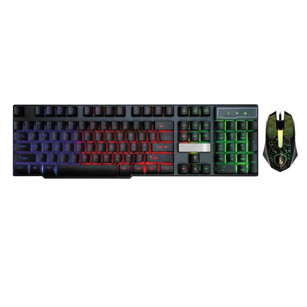 New Colorful Crack LED Illuminated Backlit USB Wired Rainbow Gaming Keyboard+Mouse For Desktop PC Gaming Keyboard And Mouse Set