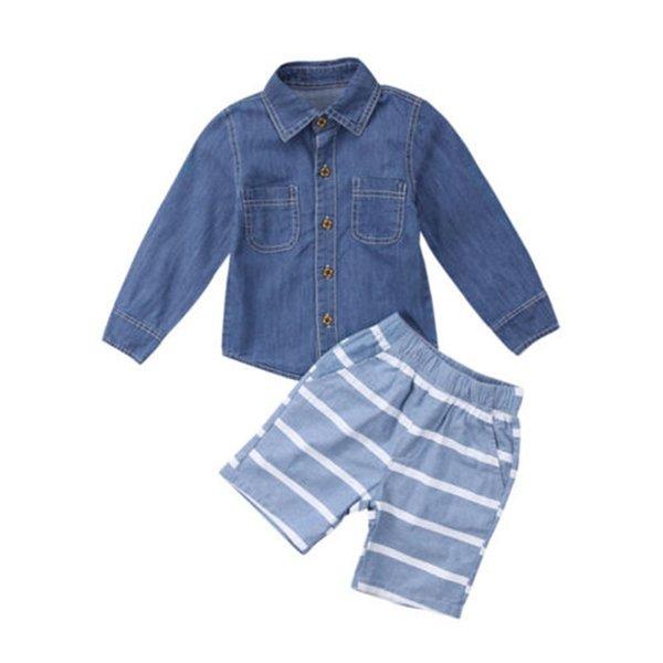 Neonato Bambino sveglio Cute Baby Boys vestiti a maniche lunghe in denim T-shirt a righe pantaloni Shorts Outture Abbigliamento per bambini