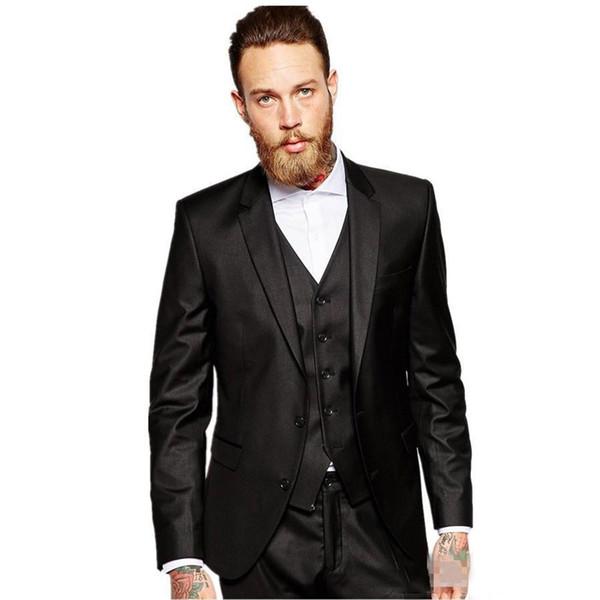 Handsome Black Satin Men Suits for Wedding Suits Pants Groom Tuxedos Man Wear Groomsmen Blazer 3Piece Costume Homme Slim Fit Terno Masculino