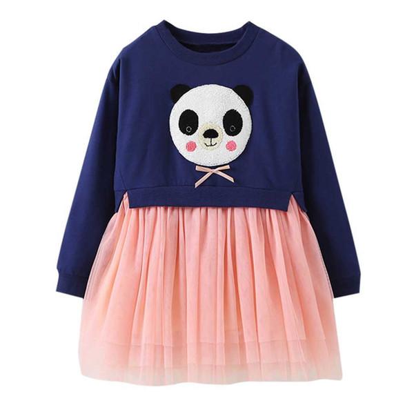 Kaliteli Moda Bebek giysileri Kız Karikatür Elbise Panda Prenses Dantel Elbise Kıyafetler Giysileri vestido infantil festa Noel Clothi