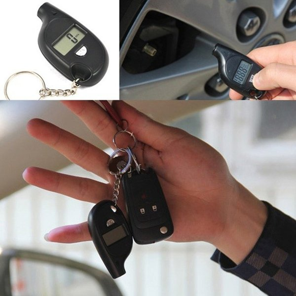 best selling Mini LCD Digital Tire Tyre Keychain Air Pressure Gauge For Car Auto Motorcycle with battery