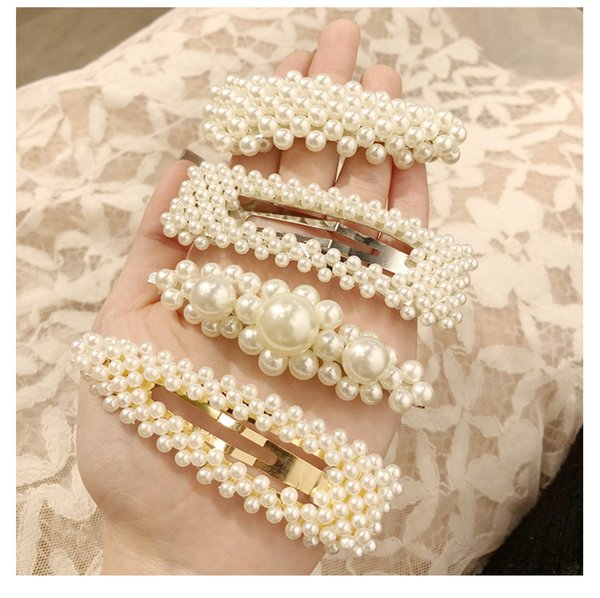 Hair Clips Barrettes woman Pearl hairpin adult side clip elegant top clip net red hairpin cute high quality wholesale free shipping