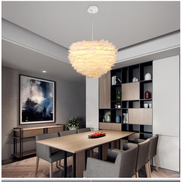 2019 Modern White Feather Pendant Light Creative Romantic Flower Designer Study Living Room Hanging Light LED Feather Bedroom Lights