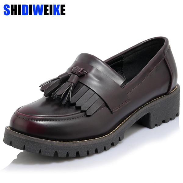 Cuir PU Gland Printemps 2019 Femmes Oxford De Appartements Richelieu Fringe Slip Chaussures Automne Chaussures Acheter Appartements On N596 Été Noir c5q4R3AjSL