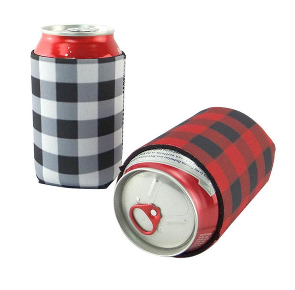 top popular Red Buffalo Check Cooler Bag Wholesale Blanks Neoprene Black Red Plaid Can Covers Wedding Gift Tin Wraps free shipping SN1288 2019