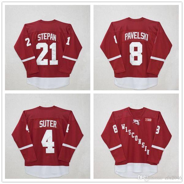 NCAA Men Wisconsin Madison #4 Ryan Suter #8 Joe Pavelski #21 Derek Stepan Red Hockey Jerseys Stitched Logos embroidered College