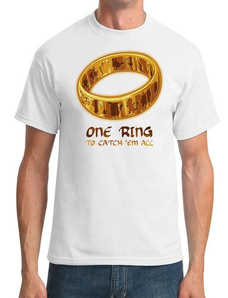 One Ring To Catch Em All - Lord Of The Ring Ispirato - T-Shirt da uomo in cotone di alta qualità con maniche corte