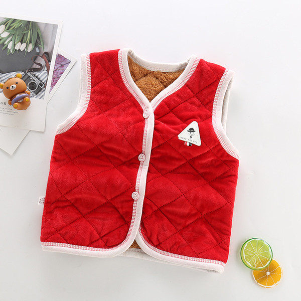 good quality autumn baby boys girls vest cotton infant kids sleevesless tops casual cartoon fleece velvet vest for newborn clothes