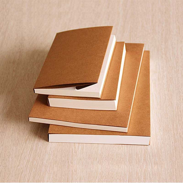 top popular Wholesale 260 pages Backless retro kraft paper blank sketchbook child painting graffiti this sketch Lock binding notebook 130x190 190x265mm 2021