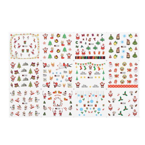 W5223-3 1 Pc/12 Sets Nail Manicure Decals Christmas Stickers Set Nail Art DIY Tools Nail Manicura Calcomanias Manichiura DeCals