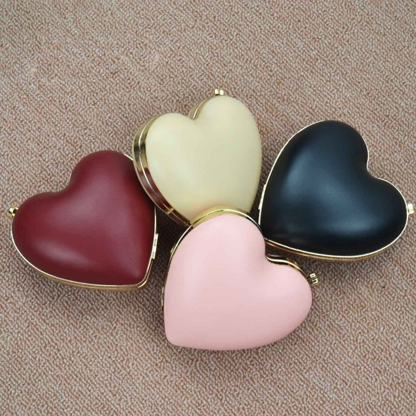 Pink Wine Heart Shape Evening Bags Chain Mini Shoulder Bags Women Pu Party Purse Day Clutches