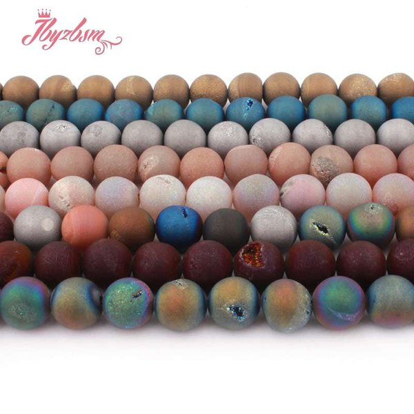 """12mm Round Bead Ball Metallic Coated Druzy Agates Natural Stone Beads For DIY Necklace Bracelet Jewelry Making 15"""" Free Shipping"""