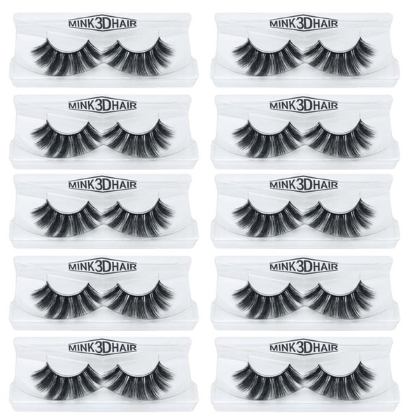 10Pairs/lot Handmade Eye Lashes 3D Real Mink Makeup Thick Fake False Eyelashes With Glitter Packing