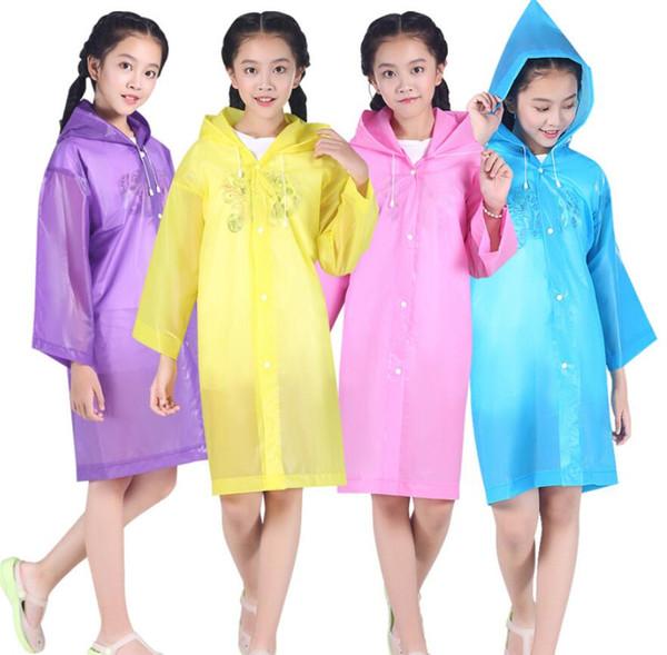 Chaqueta con capucha para niños Chubasquero impermeable Chubasquero Poncho Impermeable Cubrir Long Girl Boy Rainwear 5 colores envío gratis
