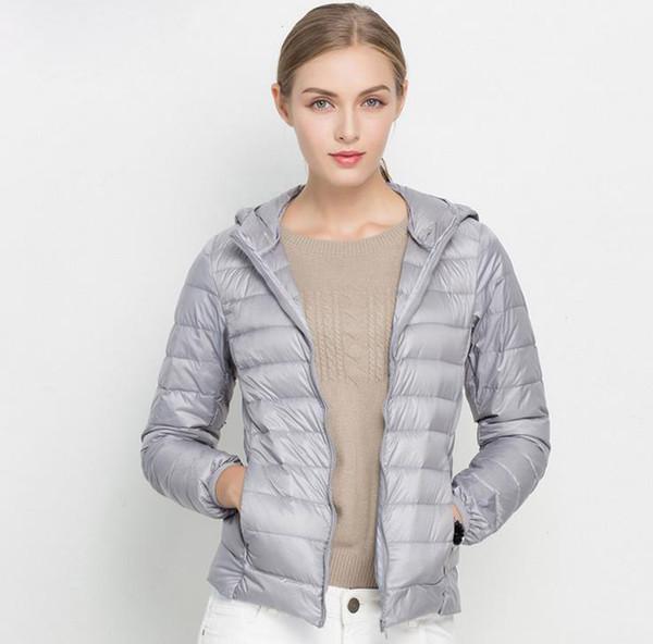 Kış Kadın Ultra Hafif Aşağı Ceket Beyaz Ördek Aşağı Kapşonlu Ceketler Uzun Kollu Sıcak Coat Parka Kadın Katı Taşınabilir Dış Giyim S-3XL