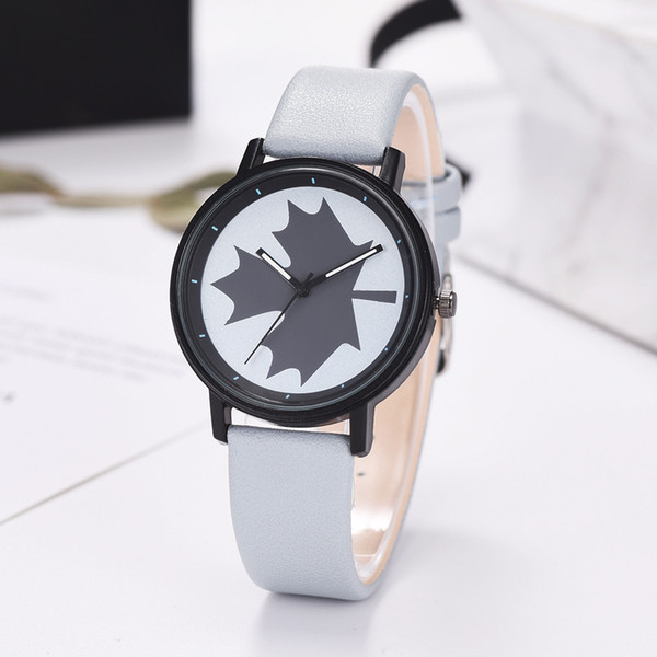 Fashion Leather Strap Ladies Watch Relogio Femininon Simple Leisure Maple Leaf Scale 2019 Top Sell Watch #20
