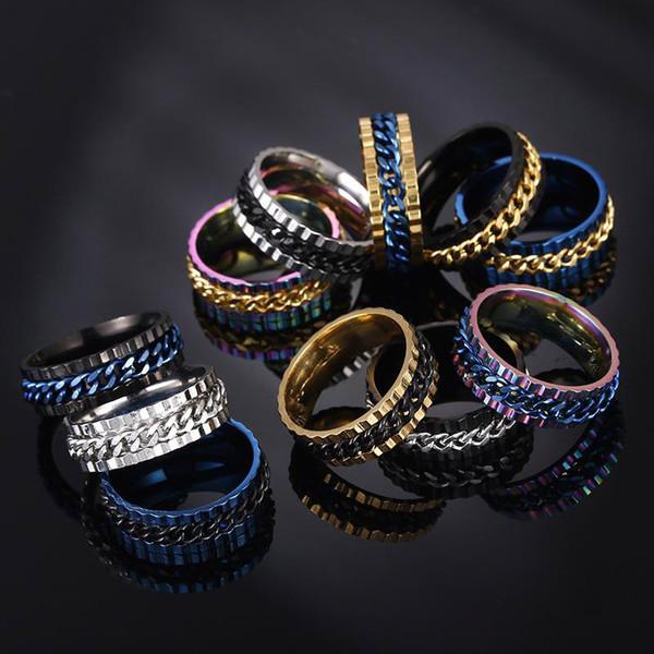 En acier inoxydable Spin Chain Ring chanceux tourner bague bague bagues de mariage bagues hommes femmes bijoux de mode Will et Sandy drop ship