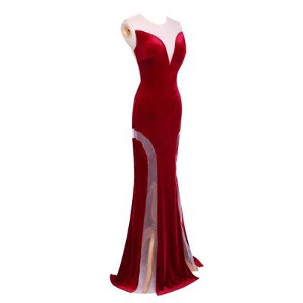 Compre Fotos De Modelos Vestidos De Noche De Sirena 2019 Sheer Scoop Illusion Volver Vestido Largo De Fiesta De Sirena Largos Formales A 4523 Del