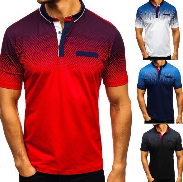 Дизайнерские мужские рубашки поло, летняя 3D печать, футболка с короткими рукавами, поло мужская европейская и американская рубашка поло, лацкан