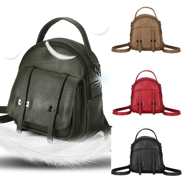 INS hot Fashion Women's Leather Backpack Laptop Retro Travel School Simple Bag#4M17