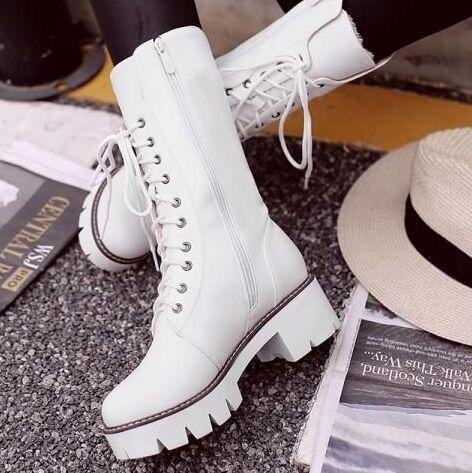 Yeni Varış Sıcak Satış İndirimdeki Süper Moda Akını Özel Tüp Martin Kadife Yüksek Tüp Lace Up Kadın Zarif Pamuk Sıcak Çizmeler EU34-43
