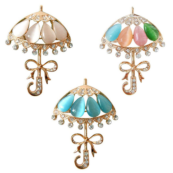 Beauty Gold Plated Multicolors Opal beads brooch pin Shiny Crystals Rhinestone Umbrella lapel pin Brooch jewelry