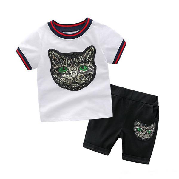 kids Sets Children cotton short sleeve cartoon Sequins cat head t shirt + shorts 2pcs sets high quality 2019 Summer Kids designer Clothing