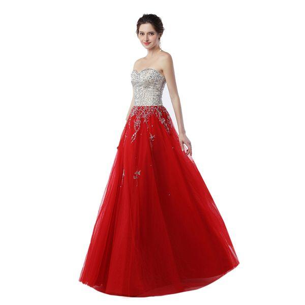 Formal Gowns Vestido Para Festa 2019 Red Tulle Prom Long Dresses Beaded Floor Length Evening Dresses
