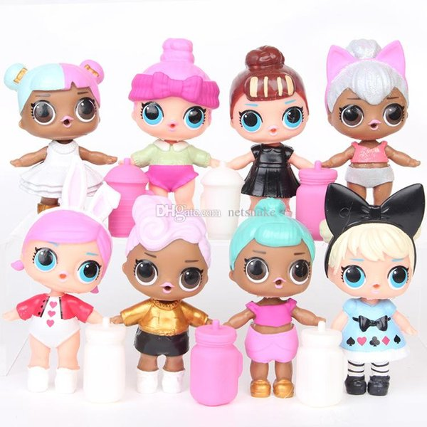 8 models in a bag for sale 9cm surprise doll can spray water cute big eyes beauty doll for girls gifts