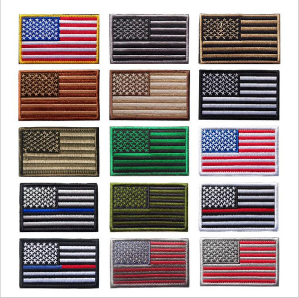 top popular US Flag Tactical Military Patches Gold Border American Flag Iron on Patches Applique Jeans Fabric Sticker Patches For Hat Bags Badges B5297 2021