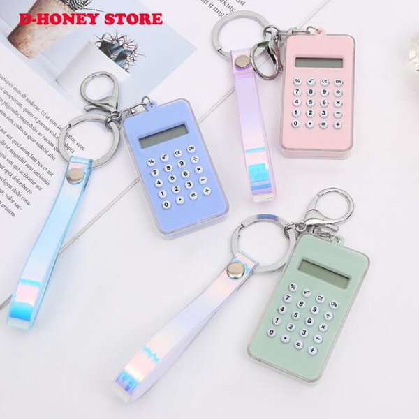 top popular 2019 Cartoon Mini Calculator Key Holder Cute Portable Student Pocket Calculator Pendant Girl Gifts game pendant dhl shipping 2020