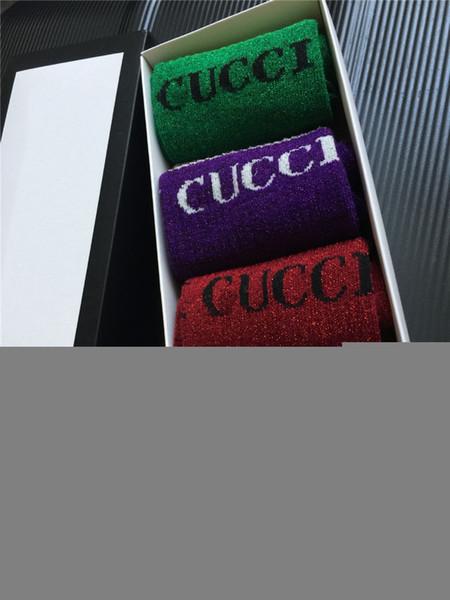 4 couleurs New America Alphabet Imprimer Chaussettes Femmes Sport Loisir Bas Or fil haut tube chaussettes Boîte Conditionnement