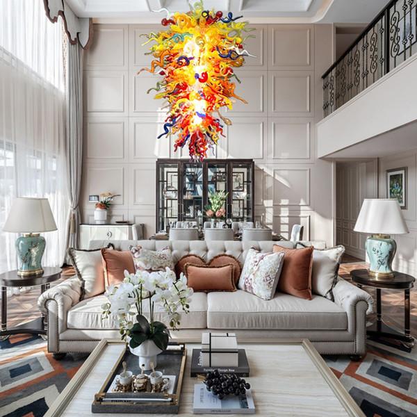 best selling Luxury Lamps Home Decor Hand Blown Glass Chandelier Lighting Multi Colored Foyer Loft Dome Light Modern Led Chandelier Lustre lights