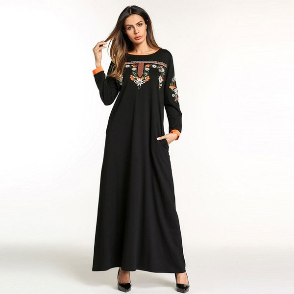 2019 New Emboridery Dress For Women Ladies Clothing Arab Caftan Kaftan Malaysia Abaya Dubai Turkish Islamic Muslim gown VKDR1085