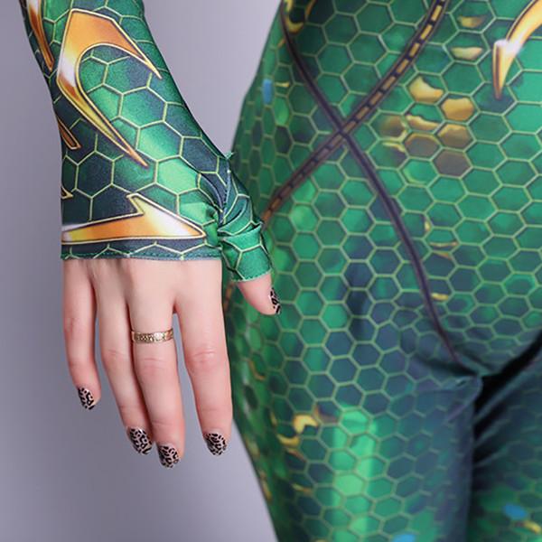 Süper kahraman cadılar bayramı Kostüm 150-200 cm Cosplay Aquaman Quinn Mera Parti Çocuklar Erkek Kız Çocuk Tulum Zentai Bodysuit ...