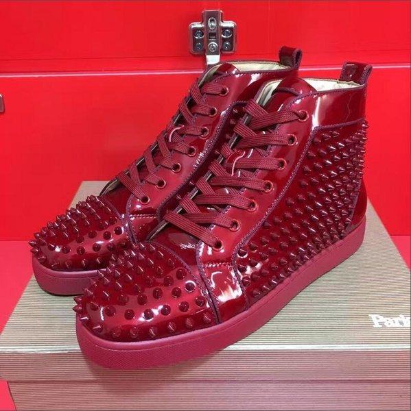 Compre Venta Al Por Mayor Precio Bajo De Calidad Superior Para Hombres Y Mujeres De Lujo De Diseño De Cuero Zapatos Casuales Nuevo Charol De Lujo Vino