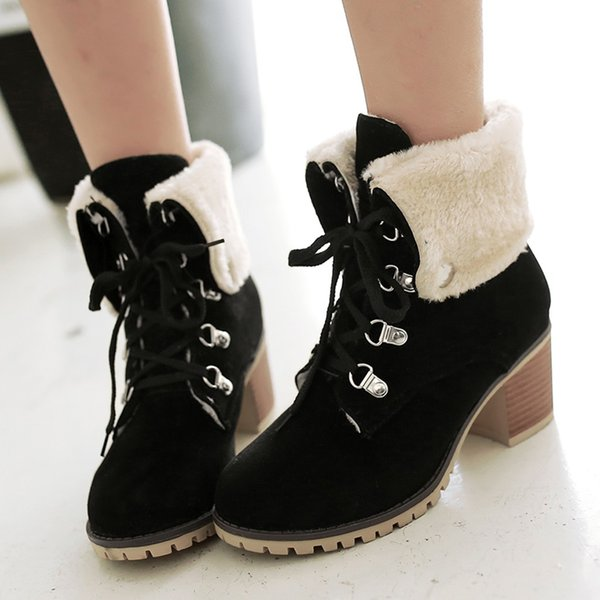 winter boots women new fashionelegant suede round toe pure color platform boots strappy casualkeep warm ankle snow