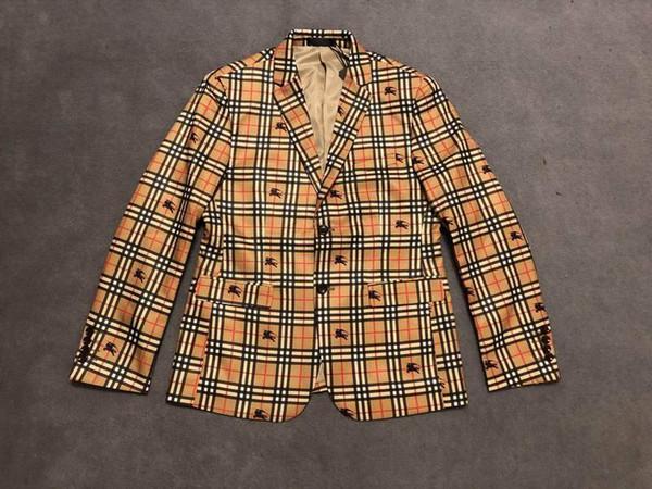 UK Fashion Herren Designer Jacken Blazer Vollgitter Kriegspferdedruck Herren Designer Blazer Hochwertige Luxus Herren Blazer High Herren Jacke