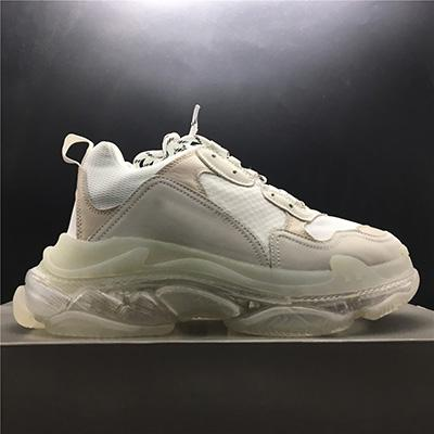with box 2019 Mens and Womens Casual Shoes Triple S Clear Sole White Black Green Brand Designer Trainers 36-45