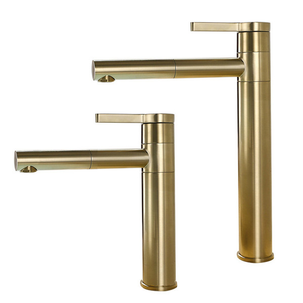 top popular Brushed Gold Rotatable Basin Faucet Solid Brass Round Bathroom Faucet Hot & Cold Black Water Mixer Tap 2019
