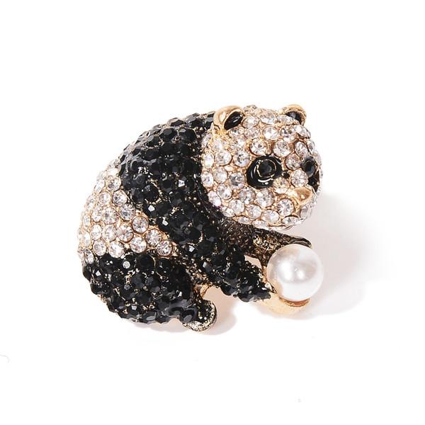 Cute Panda Brooches For Women Wedding Scarf Accessories Pearl Black White Rhinestone Animal Brooch Pins Jewelry