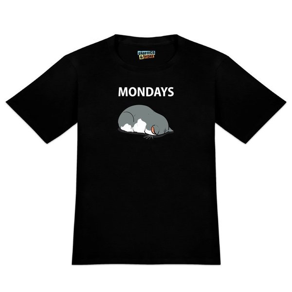 Mondays Cat Sleepy Tired Sleeping Work Camiseta para hombre de la novedad con capucha camiseta hip hop