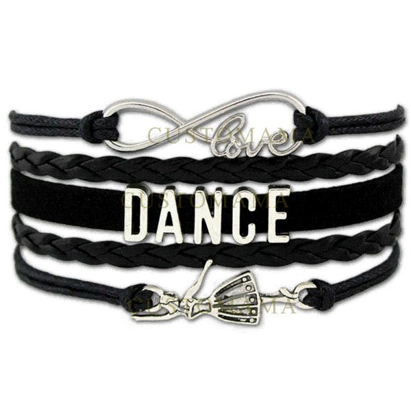 (10 PCS/Lot) Infinity Love Dance Wrap Bracelets For Women Men Gift Dancer Dancing Bracelet Black Leather Suede Custom Jewelry