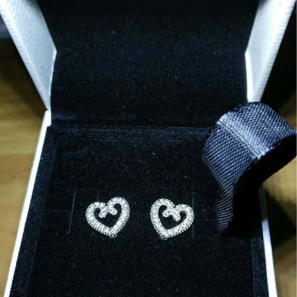 NUEVAS mujeres auténticas plata esterlina 925 CZ Diamond fit Pandora Love Heart Stud Earring caja original joyería de regalo de boda