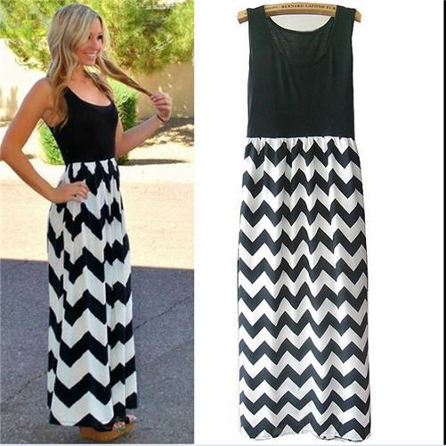 Maxi Dress Fashion Womens Summer Elegant Wave Pattern and Sleeveless Party Dress Hot Womens Round Collar and Slim Skirt