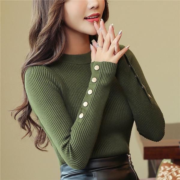 2019 mode neue frühling herbst frauen pullover gestrickte langarm oansatz sexy schlank büro dame taste casual pullover tops