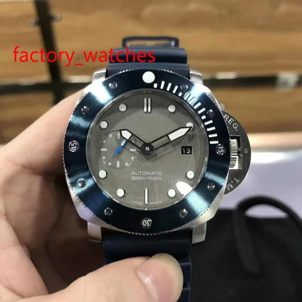 TOP quality big size 47MM watch 316 stainless steel case black rubber strap gray face automatic mechanical movement men's Watch