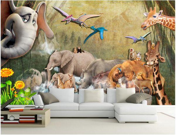 WDBHG custom photo mural 3d wallpaper Retro animal elephant giraffe painting home decor 3d wall murals wallpaper for walls 3 d living room